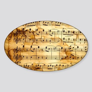 Classical Musical Notes Sticker (Oval)