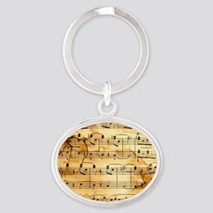 Classical Musical Notes Oval Keychain