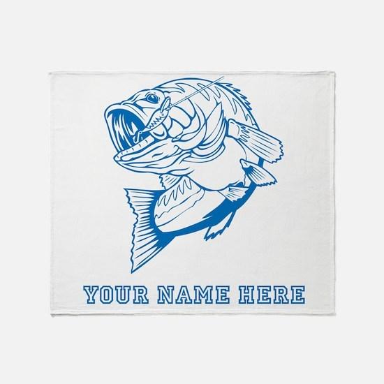 Custom Blue Bass Throw Blanket