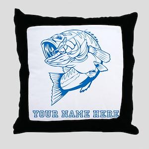 Custom Blue Bass Throw Pillow