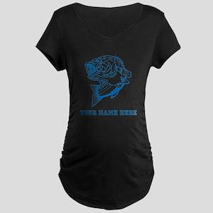 Custom Blue Bass Maternity T-Shirt