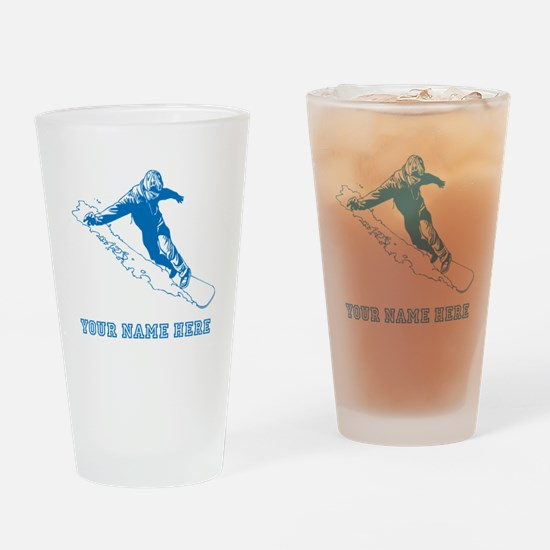 Custom Blue Snowboarder Drinking Glass