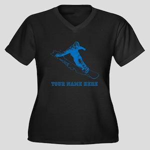 Custom Blue Snowboarder Plus Size T-Shirt