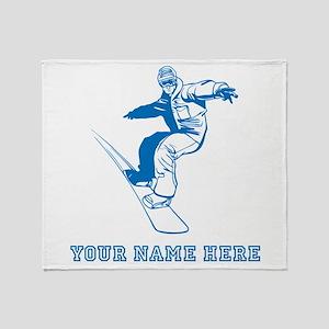Custom Blue Snowboarder Throw Blanket