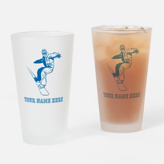 Custom Blue Snowboarder Drinking Glass