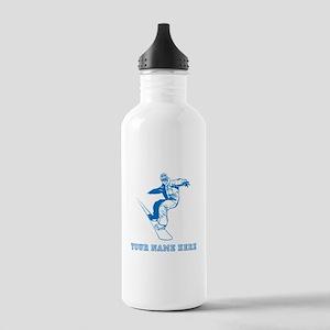 Custom Blue Snowboarder Water Bottle