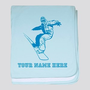 Custom Blue Snowboarder baby blanket