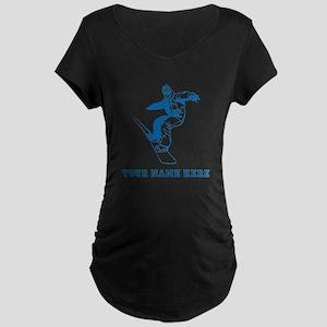 Custom Blue Snowboarder Maternity T-Shirt