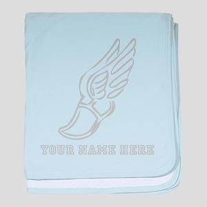 Custom Grey Running Shoe With Wings baby blanket