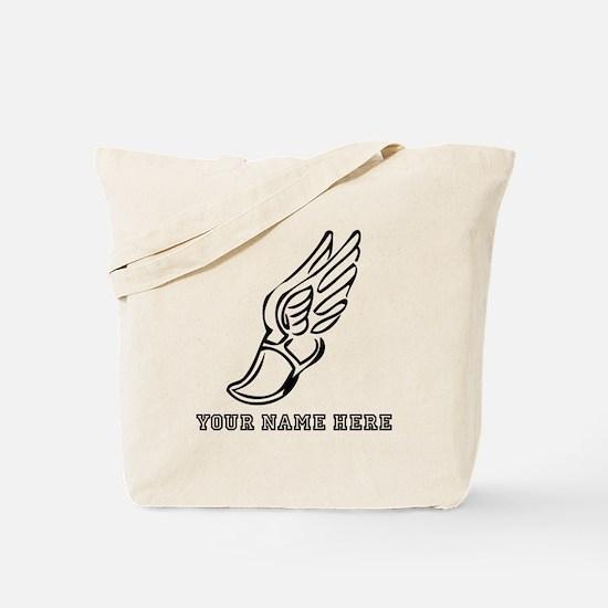 Custom Black Running Shoe With Wings Tote Bag