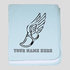 Custom Black Running Shoe With Wings baby blanket