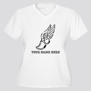 Custom Black Running Shoe With Wings Plus Size T-S