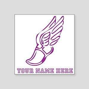 Custom Purple Running Shoe With Wings Sticker