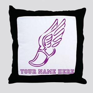 Custom Purple Running Shoe With Wings Throw Pillow