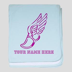 Custom Purple Running Shoe With Wings baby blanket