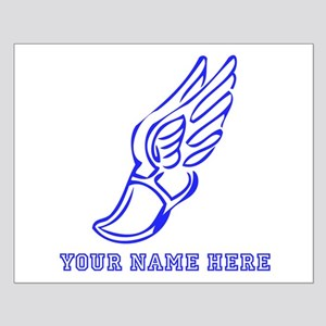 Custom Blue Running Shoe With Wings Posters