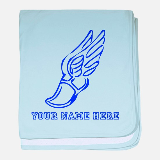 Custom Blue Running Shoe With Wings baby blanket
