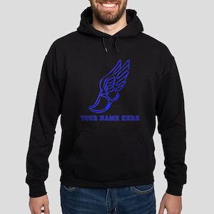 Custom Blue Running Shoe With Wings Hoodie