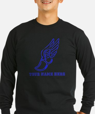 Custom Blue Running Shoe With Wings Long Sleeve T-