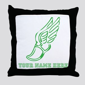 Custom Green Running Shoe With Wings Throw Pillow