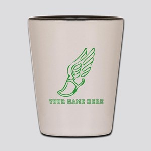 Custom Green Running Shoe With Wings Shot Glass