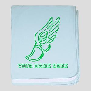 Custom Green Running Shoe With Wings baby blanket