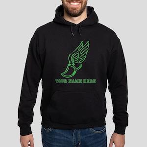 Custom Green Running Shoe With Wings Hoodie