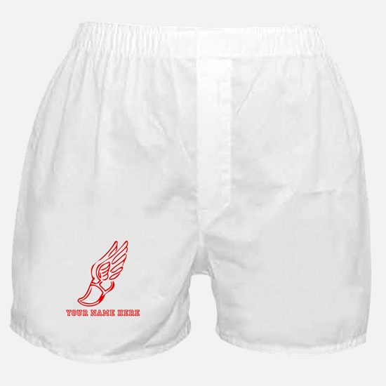 Custom Red Running Shoe With Wings Boxer Shorts
