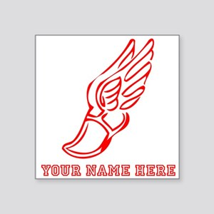 Custom Red Running Shoe With Wings Sticker
