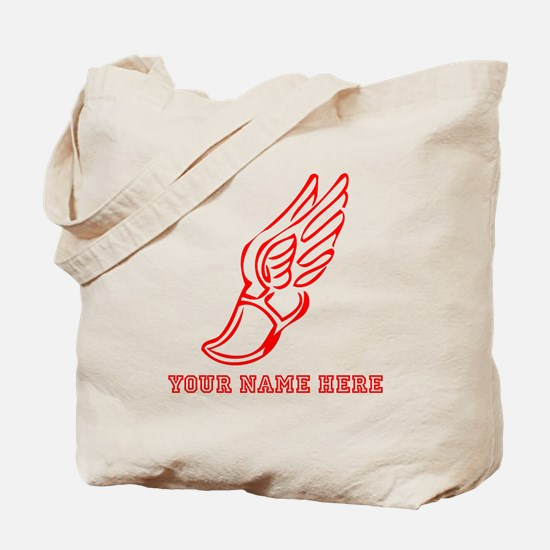 Custom Red Running Shoe With Wings Tote Bag