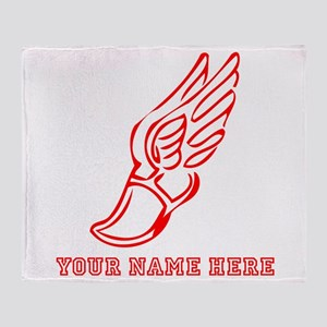 Custom Red Running Shoe With Wings Throw Blanket