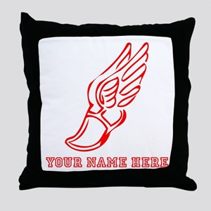 Custom Red Running Shoe With Wings Throw Pillow