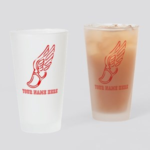Custom Red Running Shoe With Wings Drinking Glass
