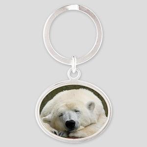 Polar bear 003 Oval Keychain