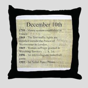 December 10th Throw Pillow