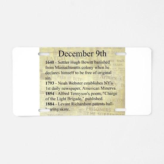 December 9th Aluminum License Plate
