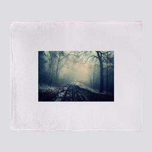 Railroad In Snowy Forest Throw Blanket