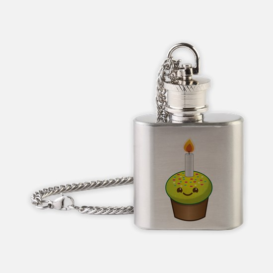 Cutie Kawaii Happy Birthday Cupcake Flask Necklace