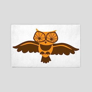 Cute flying hoot owl 3'x5' Area Rug