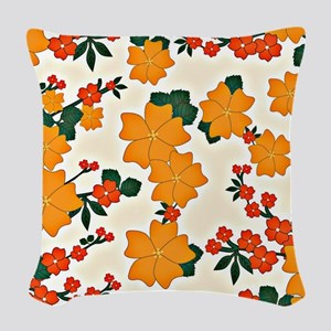 Vintage Floral Pattern, Boho-C Woven Throw Pillow