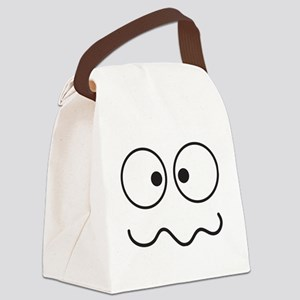 Crazy eyes face funny Canvas Lunch Bag