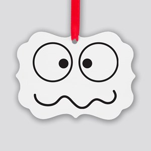 Crazy eyes face funny Picture Ornament