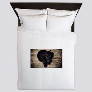 Black Lab Puppy Queen Duvet