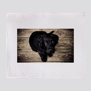 Black Lab Puppy Throw Blanket