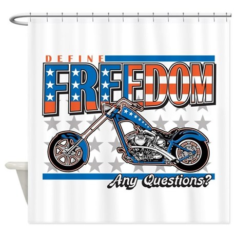 Define Freedom Motorcycle Shower Curtain