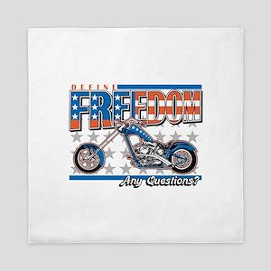 Define Freedom Motorcycle Queen Duvet