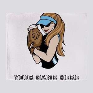 Custom Softball Pitcher Throw Blanket