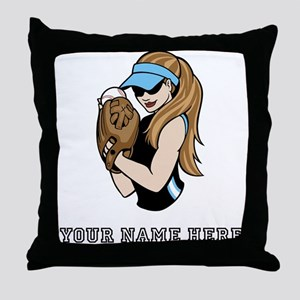 Custom Softball Pitcher Throw Pillow