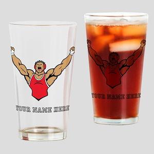 Custom Strong Wrestler Drinking Glass