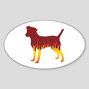 Patterdale Flames Oval Sticker